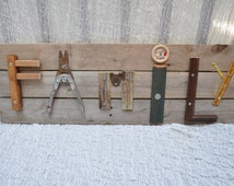 Salvage art sign typography letters spell FAMILY metal wood hardware vintage antique decor shabby farm chic pallet board