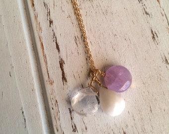 Meditation ~ Beautiful Handmade Gold Filled Wire Wrapped Cape Amethyst, Crystal Quartz & Snow Quartz Necklace