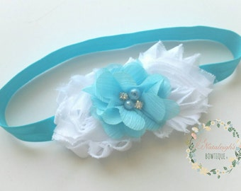 Aqua Baby Headband,  Photo Prop Headband, Chiffon Baby Headband, Floral Rosette Headband, Jewel Baby Headband, Rosette Headband