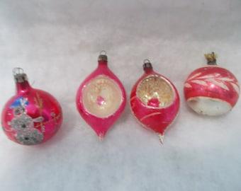 SALE - Vintage Set Of Four Mercury Glass Christmas Ornaments (1364)