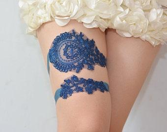 navy blue bridal garter set, wedding garter,  garters for wedding,lace garters, toss garter, bridal garter, bride garters