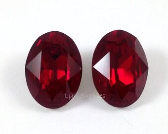 4120 SIAM 18x13mm 2pcs Swarovski Crystal Oval Fancy Stone