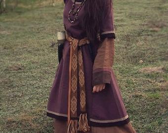 Set of woolen dress/tunic and linen dress, viking costume, reenactment