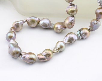Large baroque pearl necklace,natural metallic jumbo flameball pearl necklace,big fireball nucleated pearl necklace,genuine fresh water pearl