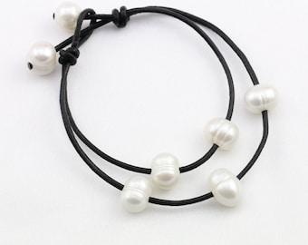 Pearl leather bracelet,black leather bracelet,leather pearl bracelet,two lines pearl bracelet,friends birthday gift,genuine leather bracelet