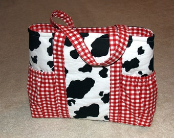 Large Tote Bag with Side Pockets - Cow Print and Red Plaid