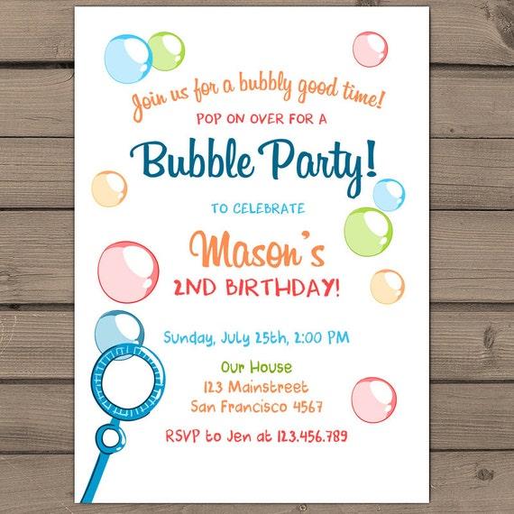 Bubbles birthday party invitations wording filmwisefo