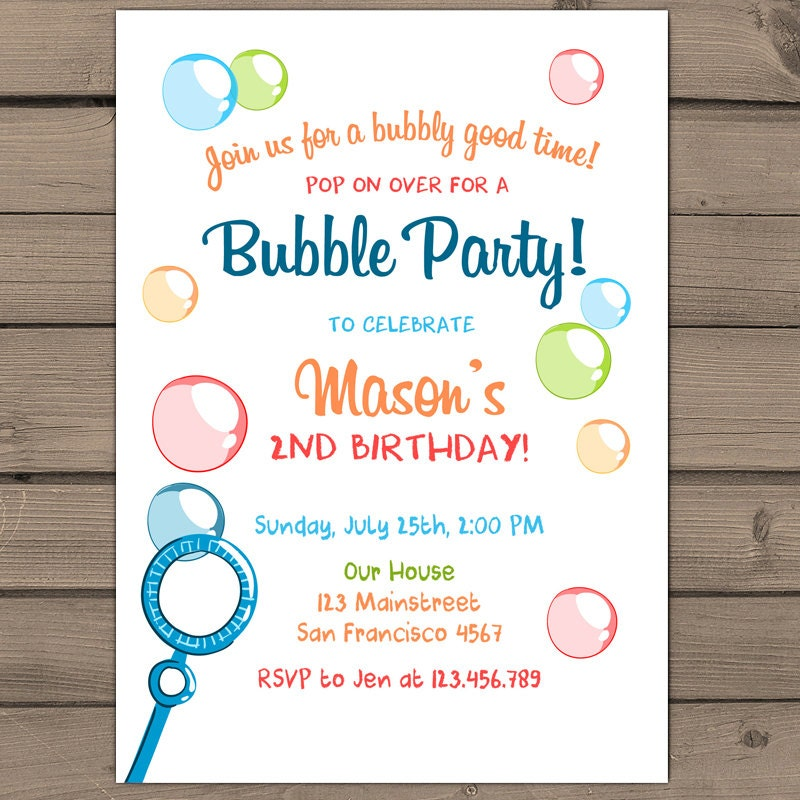 Bubbles birthday party invitations wording quotes filmwisefo