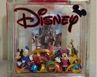 Disney Memory Custom Glass Block, Family Glass Block, Vacation Glass Block, 3 Dimensional Glass Block, Custom Shadowbox