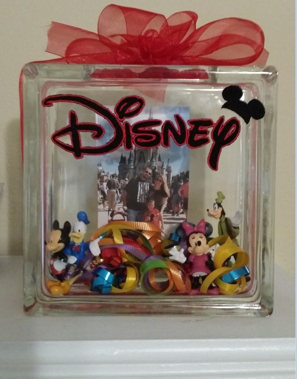 Disney memory custom glass block family glass block vacation for Glass block crafts pictures