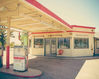 Vintage Gas Station Photography, Americana Photography, Vintage Sign, California, Los Angeles, Large Wall Art, Art Print, Bar Print