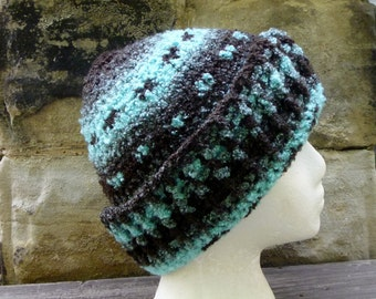 Winter Hat - Crochet Turquoise and Brown