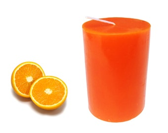 Juicy Orange Scented Pillar Candle 30 hours size 8 x 5.5 cm