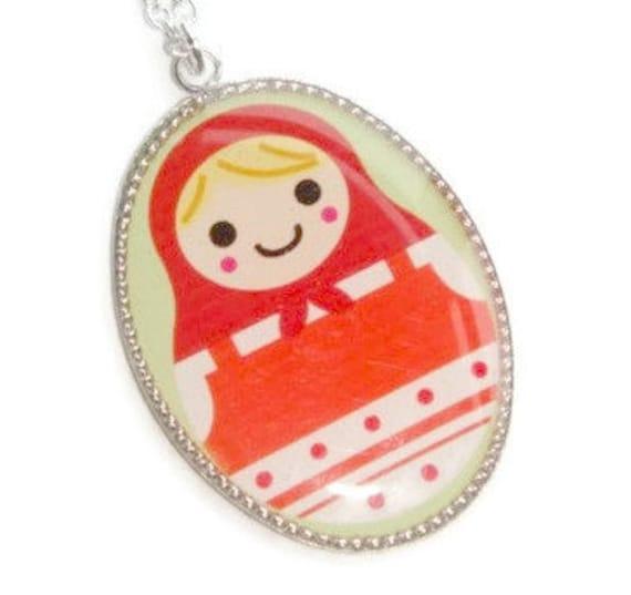 Necklace - Nesting Doll Pendant - Matryoshka Charm - Doll Jewelry ...