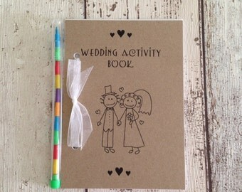 Children's Wedding Activity Pack Book Gift Favour A6 Vintage Style Brown Eco Kraft Card