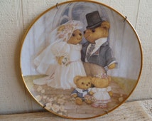 """Franklin Mint Heirloom Collectors Plate """"Just Married"""" Teddy Bears"""