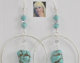 Sky Blue Fire Turquoise & Swarovski Crystal Sterling Silver Dangle Earrings CSS176E