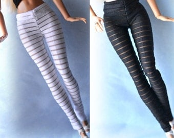 Handmade Barbie clothes, Two Pairs of Leggings stripped transparent stretch