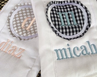 Monogrammed Burp clothes