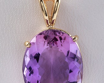 12.00 Natural Purple Amethyst in 14K Solid Yellow Gold Women Necklace & Pendant