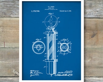 Barber Pole Patent Print, Patent Art Print, Patent Poster, Barber Art, Barbershop, Barber Gift, Barber Print, Barber Poster, P130