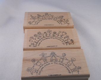 Retired Stampin' Up!  The World Over  Set 3 piece stamp set gently used