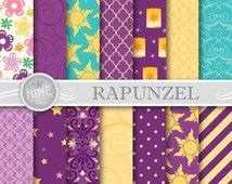 RAPUNZEL Digital Paper: Tangled Inspired Pattern Prints, Instant Download, Paper Pack Patterns Scrapbook Print