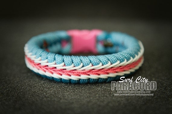 stitched paracord bracelet with blue 550 cord by