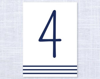 Nautical Table Numbers Set of 10, 20, 30 or Printable File / Wedding and Event Table Numbers / #908