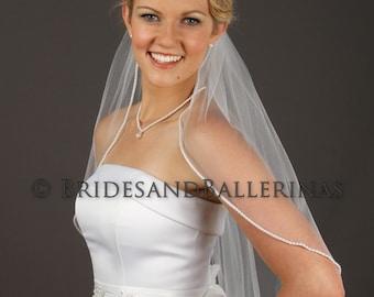 Pearl Beaded Veil, Elbow Length Veil, Soft Veil, Ivory Tulle Veil, Single Tier Veil, Bridal Veil White, Available in any length!