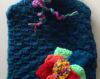 Handmade Knitted Hot Water Bottle Cover and Hot Water Bottle