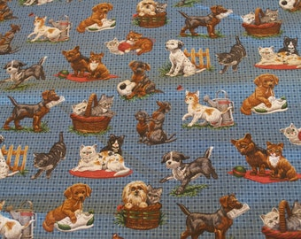 "Dog & Cat ""Best Friends"" Fabric by Cranston V.I.P."
