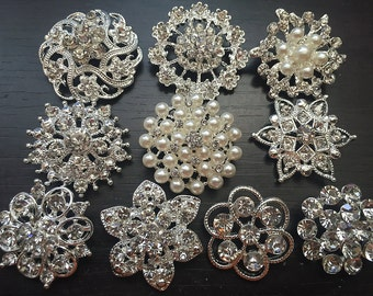 10 pcs Rhinestone Buttons Brooches Assortment Large Embellishment Set Pearl Crystal Wedding Brooch Bouquet US Seller E3YBT165