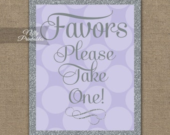 Favors Sign - Lilac Favor Sign - Purple Gray Favors Table Signs - Printable Wedding Baby Bridal Shower Signs - Lavender Favor Table Sign LHD