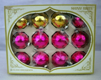 Christmas ornaments, Shiny Brite, pink and gold, vintage