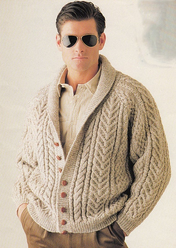 Mens hand knit aran cardigan turtleneck sweater cardigan