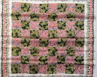 Vintage 1970s Echo Pink and Green Floral/Garden Motif Scarf