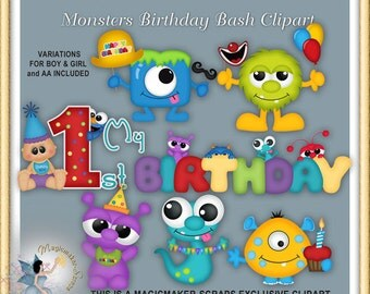 Monsters Birthday Clipart