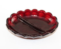 RUBY RED CANDY Dish,Vintage Collectible candy dish,cut glass candy dish, divided candy dish, vintage red candy dish, vintage serving dish