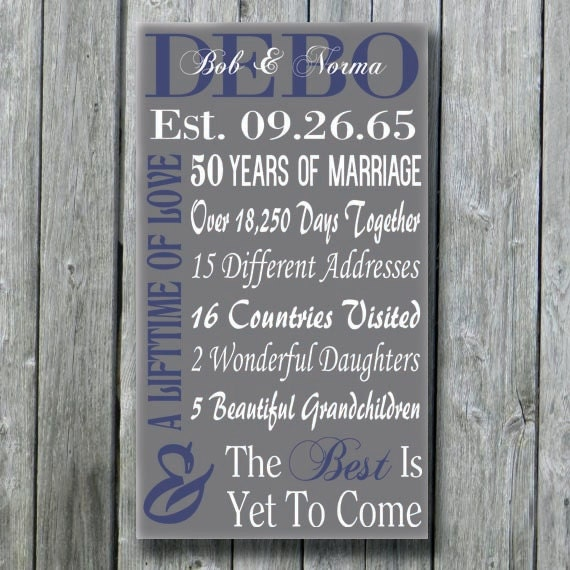 Personalized 50th 30th 35th 40th 45th Anniversary Gift