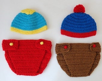 South Park Hat And Diaper Cover -Eric Cartman, Stan Marsh, Kyle Broflovski, Craig Tucker - Newborn Halloween Wig/ Cosplay Wig/ Baby Shower