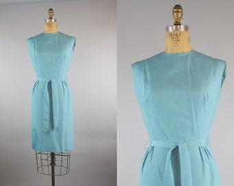 Blue Lagoon Dress / 1960s Blue Shift Dress / 1960s Dress