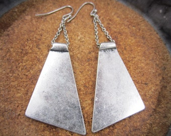 Geometric  silver tone dangle earrings