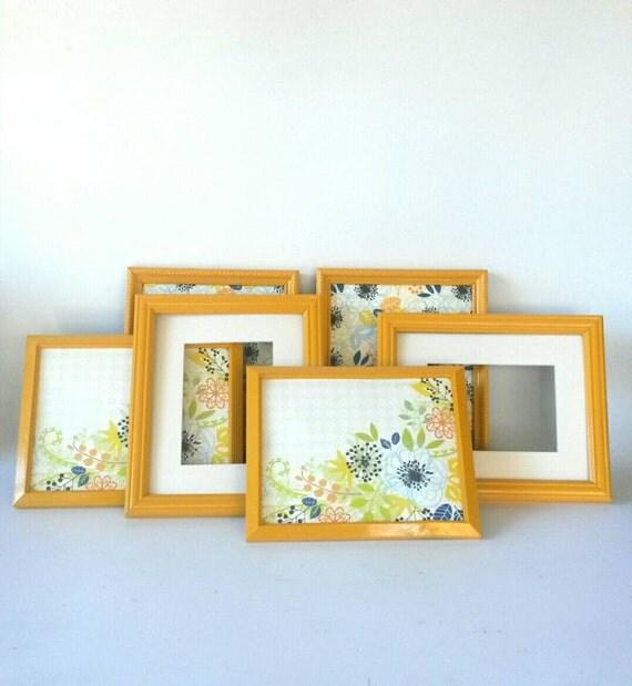 Picture frames lot set 6 marigold orange vintage wood frame for Modern collage frame