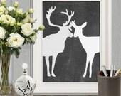 Couple gift idea Deer print Valentines printable Wedding couple Gift idea Chalkboard stag doe couple Black white Large Wall art Anniversary