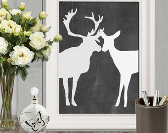 Deer print Valentines printable Wedding couple Gift idea Chalkboard stag doe couple Black white Large Wall poster art Home Decor Anniversary