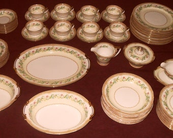 "REDUCED PRICE Vintage 1930s Noritake China, ""Moselle"" service for eight with additional pieces totaling 64"