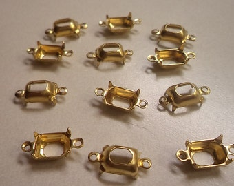 8mm x 6mm octagon shaped open back prong 2 ring connector settings in DTL lacquered 12 pc lot l