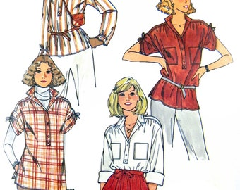 Vintage 1970's Butterick 6187 Misses' Loose Fit Shirt with Gathered, Roll-Up Sleeves Sewing Pattern Size 12