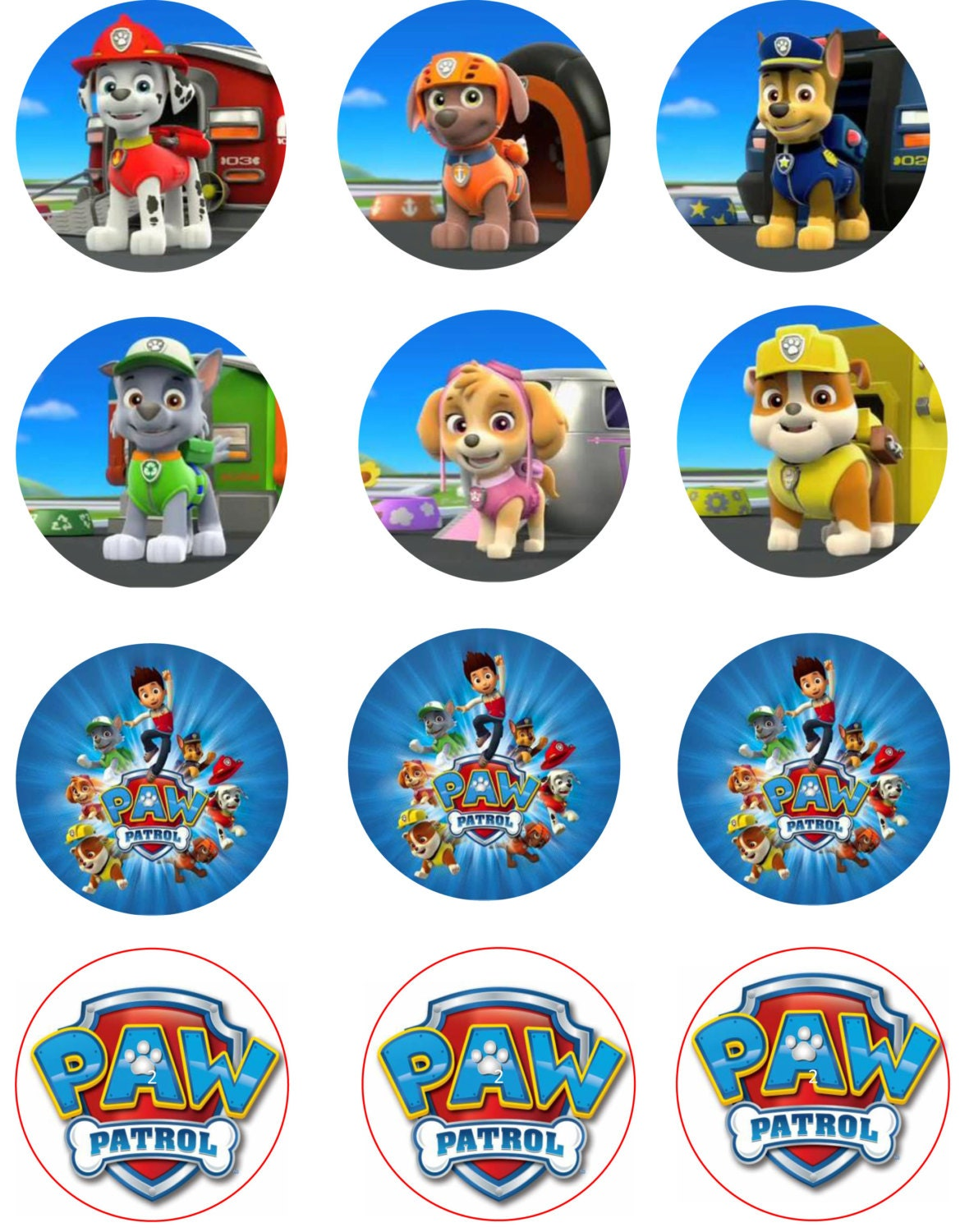 Puppy Patrol Edible Image Cupcake Toppers